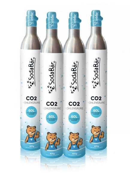 CO2-Zylinder 4x 425g (60 l) - (kompatibel mit vielen Geräten z.B. Sodastream)